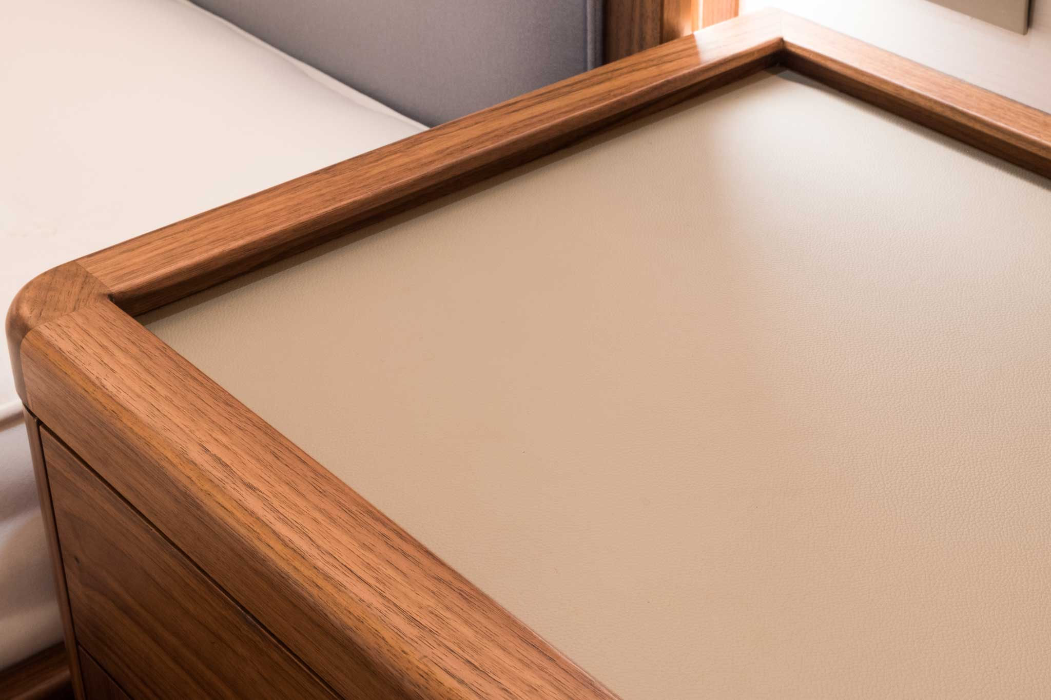 Leather Lined Desk Inlay In Yacht Cabin By Passmore