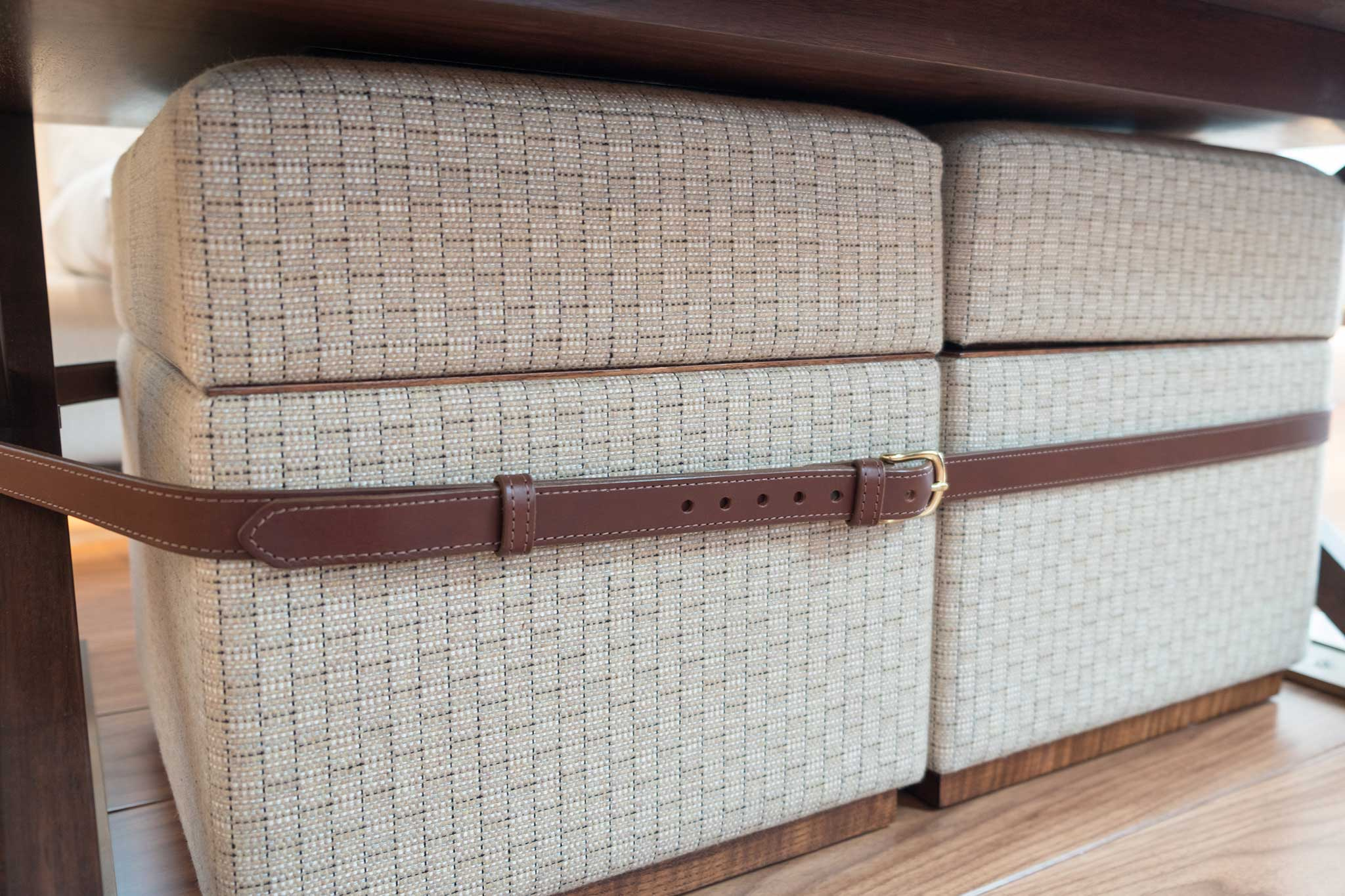 Ottoman Storage Boxes With Leather Straps By Passmore