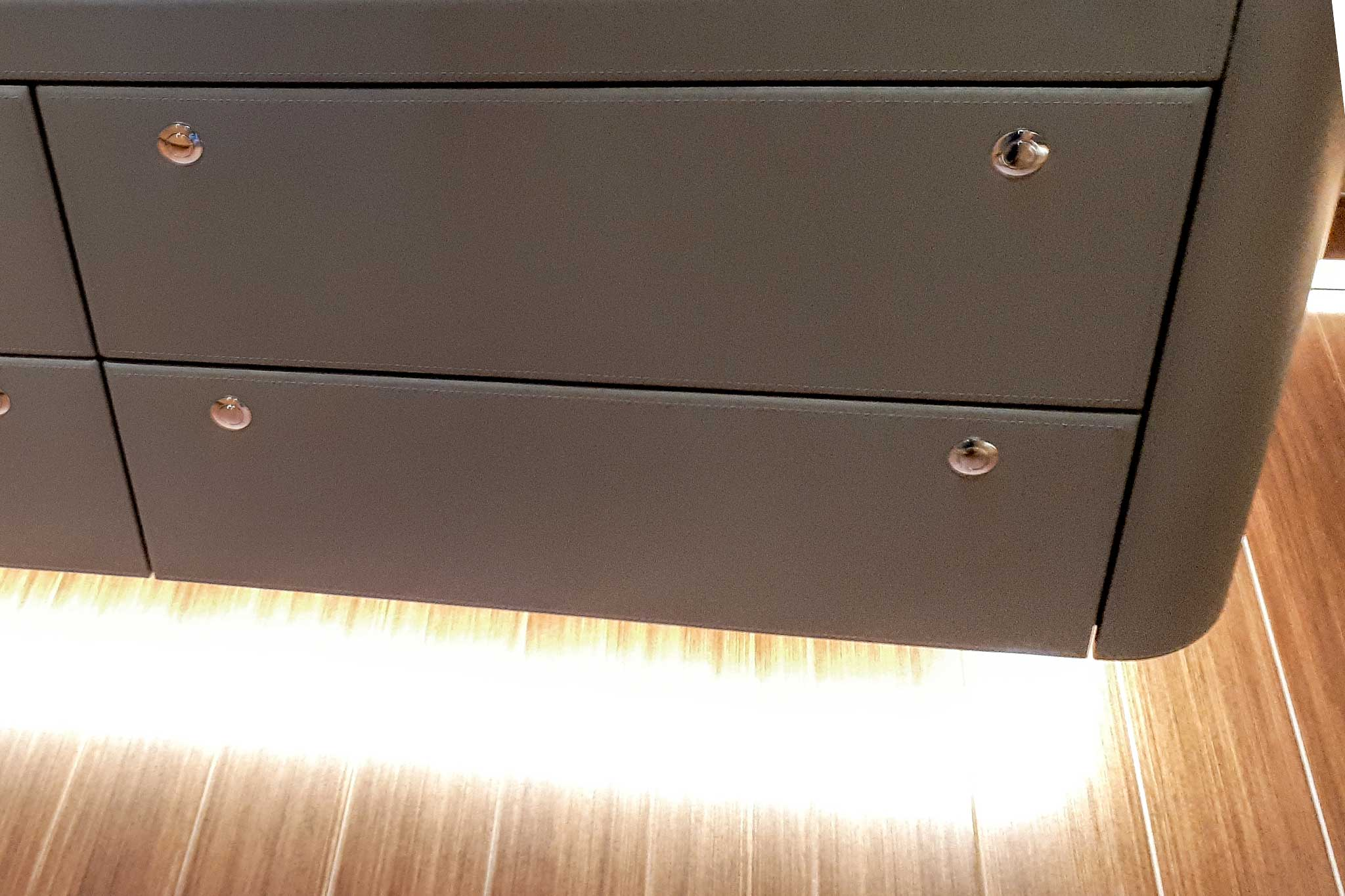 Leather Covered Drawer Unit By Passmore
